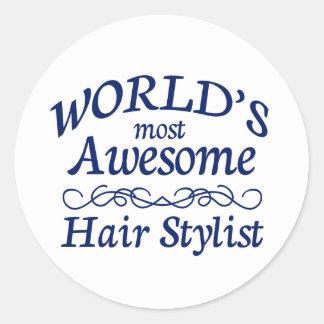 World's Most Awesome Hair Stylist Round Sticker
