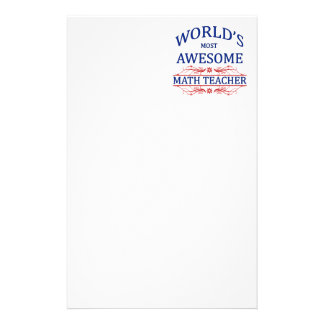 World's Most Awesome Math Teacher Personalized Stationery