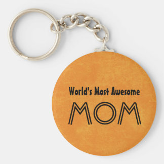 World's Most Awesome MOM Bright Orange Gift Set Keychain