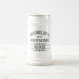 World's Most Awesome Murse 18 Oz Beer Stein