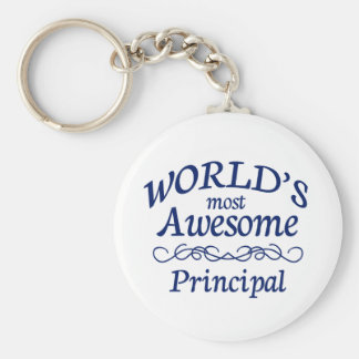 World's Most Awesome Principal Basic Round Button Keychain
