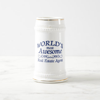 World's Most Awesome Real Estate Agent 18 Oz Beer Stein