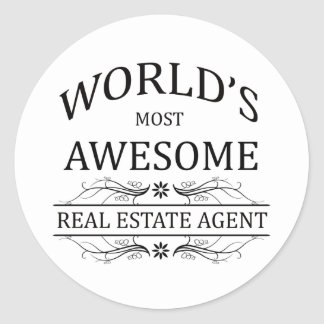 World's Most Awesome Real Estate Agent Round Sticker