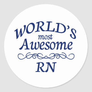 World's Most Awesome RN Round Sticker