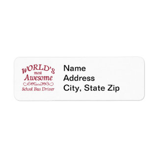 World's Most Awesome School Bus Driver Return Address Label