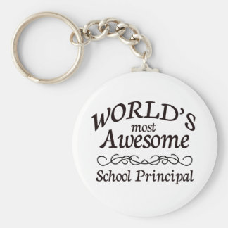 World's Most Awesome School Principal Basic Round Button Keychain