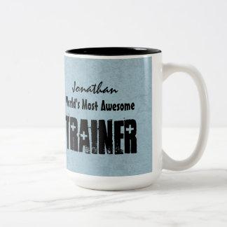World's Most Awesome TRAINER Blue Grunge V14 Two-Tone Coffee Mug