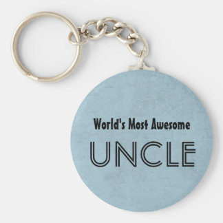 World's Most Awesome UNCLE Blue Grunge Basic Round Button Keychain