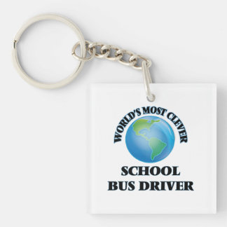World's Most Clever School Bus Driver Square Acrylic Key Chain