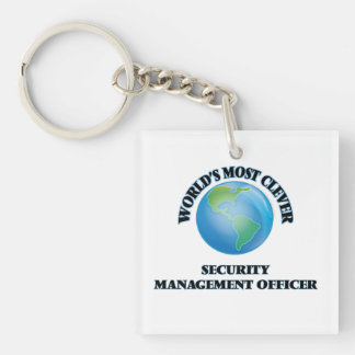 World's Most Clever Security Management Officer Square Acrylic Key Chain