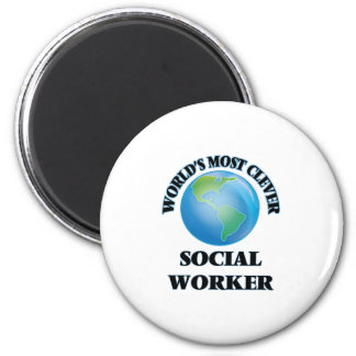 World's Most Clever Social Worker 2 Inch Round Magnet