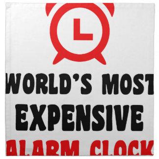 world's most expensive alarm clock printed napkin