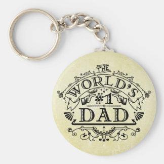 World's Number One Dad Vintage Flourish Keychain