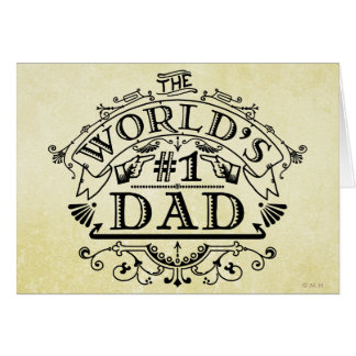 World's Number One Dad Vintage Personalized Card