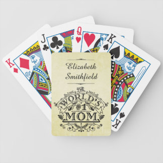 World's Number One Mom Vintage Personalized Poker Deck