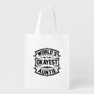 World's Okayest Auntie Reusable Grocery Bag