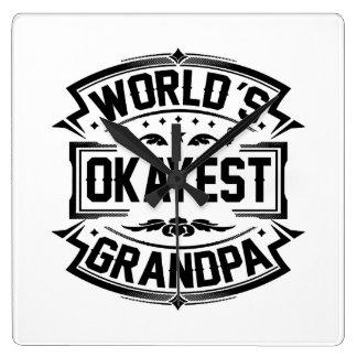 World's Okayest Grandpa Square Wall Clock