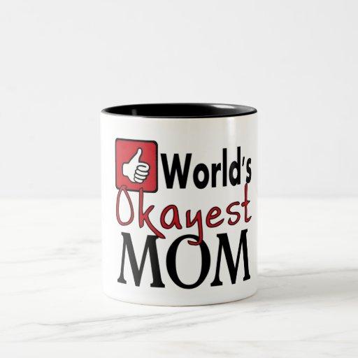 World's okayest mom red humor coffee mug