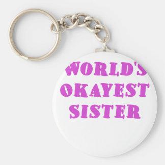 Worlds Okayest Sister Basic Round Button Keychain