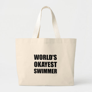 World's Okayest Swimmer Large Tote Bag