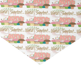 World's Sweetest Aunt Cupcake Pattern Tissue Paper
