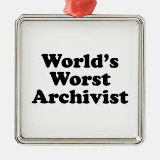 Worlds' Worst Archivist Metal Ornament