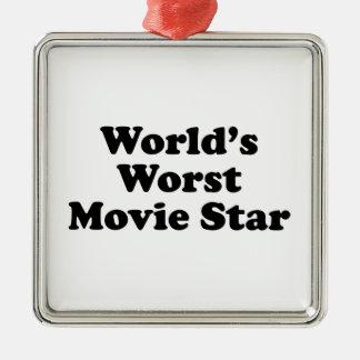 World's Worst Movie Star Silver-Colored Square Ornament