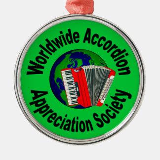 Worldwide Accordion Appreciation Society Silver-Colored Round Ornament