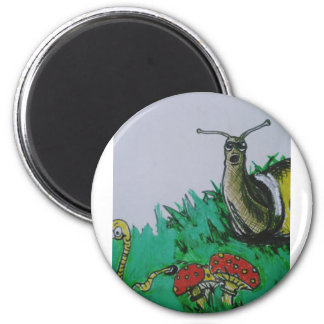 worm and snail art 2 inch round magnet
