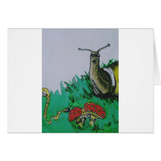 worm and snail art card