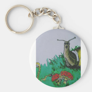 worm and snail art keychain