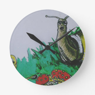 worm and snail art round clock