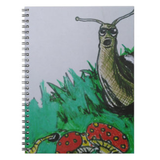 worm and snail art spiral notebook