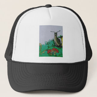 worm and snail art trucker hat