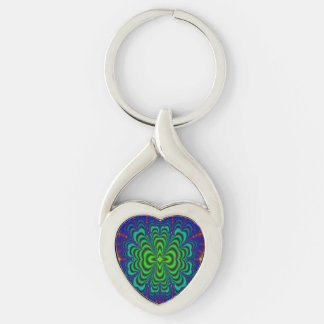 Wormhole Fractal Neon Green Space Tubes Silver-Colored Twisted Heart Keychain