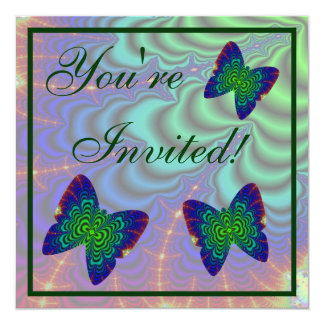 Wormhole Fractal with Butterfly 5.25x5.25 Square Paper Invitation Card