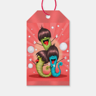 WORMS ALIENS MONSTERS CUTE CARTOON GIFT TAG MATT