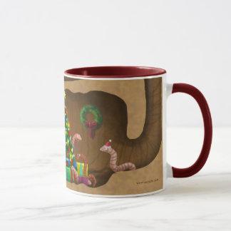 Wormy Christmas mug