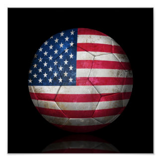 Worn American Flag Football Soccer Ball Poster