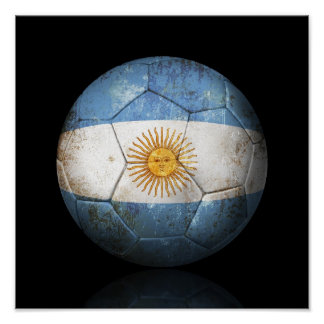Worn Argentinian Flag Football Soccer Ball Poster