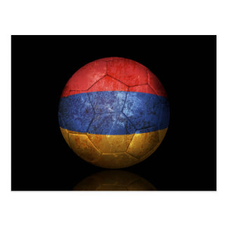 Worn Armenian Flag Football Soccer Ball Postcard