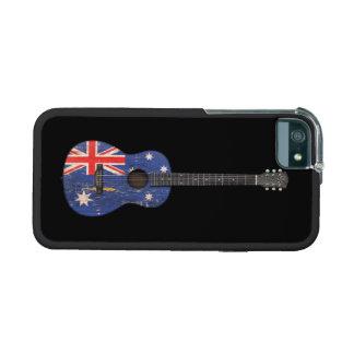 Worn Australian Flag Acoustic Guitar, black iPhone 5 Covers
