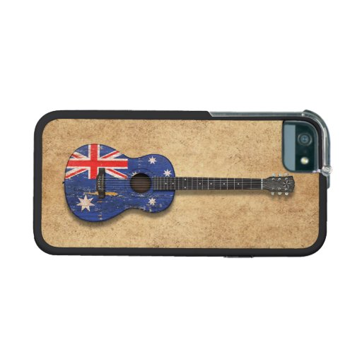 Worn Australian Flag Acoustic Guitar Cover For iPhone 5