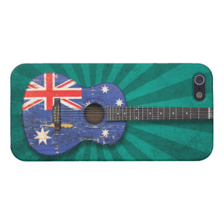 Worn Australian Flag Acoustic Guitar, teal iPhone 5/5S Case