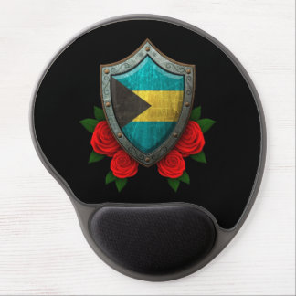Worn Bahamas Flag Shield with Red Roses Gel Mousepad