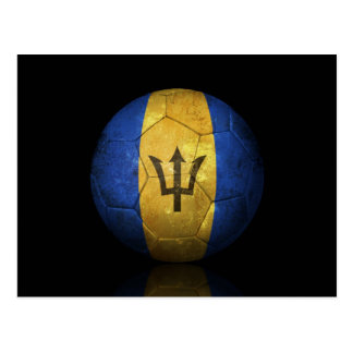 Worn Barbados Flag Football Soccer Ball Postcard