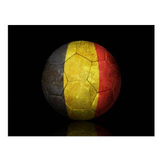 Worn Belgian Flag Football Soccer Ball Postcard
