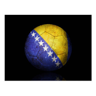 Worn Bosnia Herzegovina Flag Football Soccer Ball Postcard