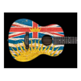 Worn British Columbia Flag Acoustic Guitar, black Postcard