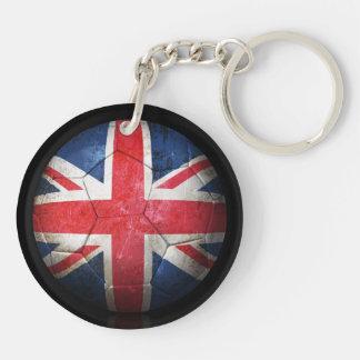 Worn British Flag Football Soccer Ball Double-Sided Round Acrylic Keychain